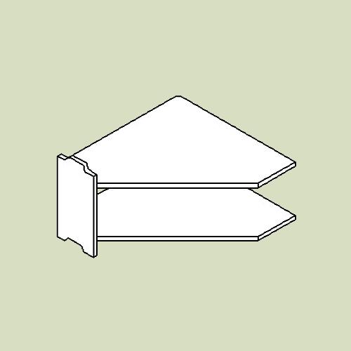 Hjørnereol 1 med 2 hylder - h40 b80 d20