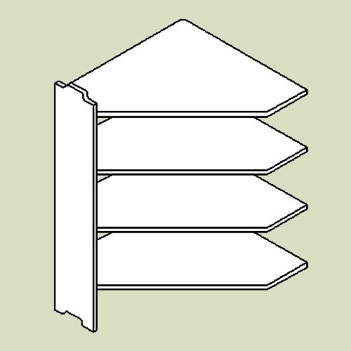 Hjørnereol 2 med 4 hylder - h103 b80 d20