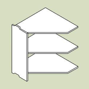 Hjørnereol 3 med 3 hylder - h83 b80 d30