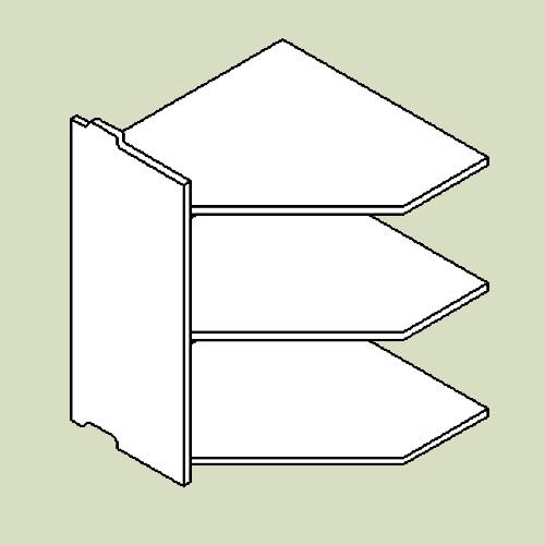 Hjørnereol 4 med 3 hylder - h83 b80 d36