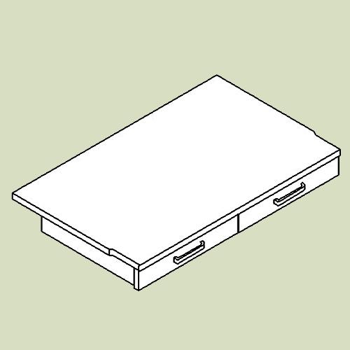 Skriveplade med 2 skuffer - d48 b78