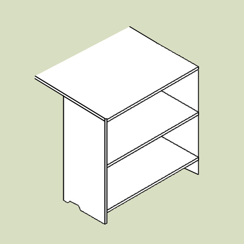 Reol med 2 hylder til skrivebordsplade - h69,5 b41 d68