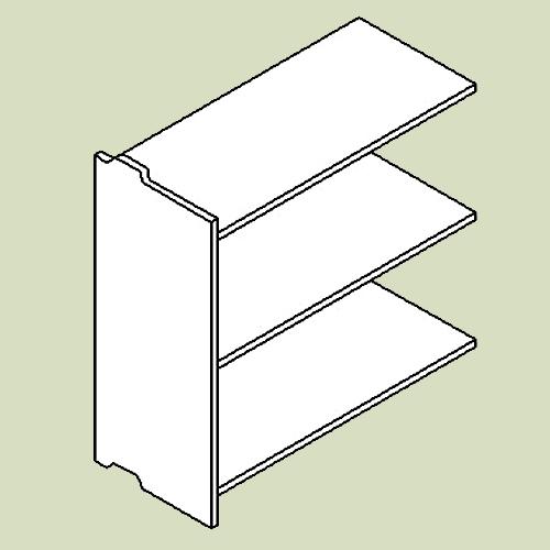 Reol 4 med 3 hylder - h83 b80 d36