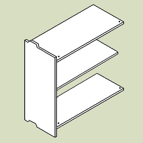 Skab, grundmodul med 1 hylde - h83 b80 d36