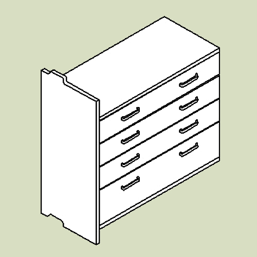 Skuffemodul med 4 skuffer - h83 b80 d36