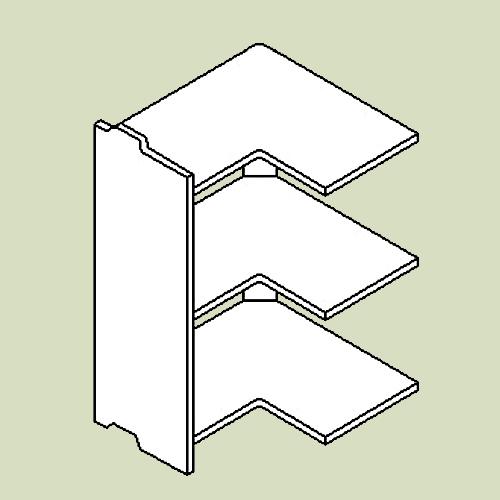 Hjørnevinkelreol 3 med 3 hylder - h83 b80 d30